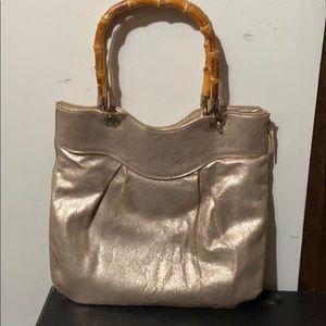 Elaine Turner Bamboo Handle champagne bag